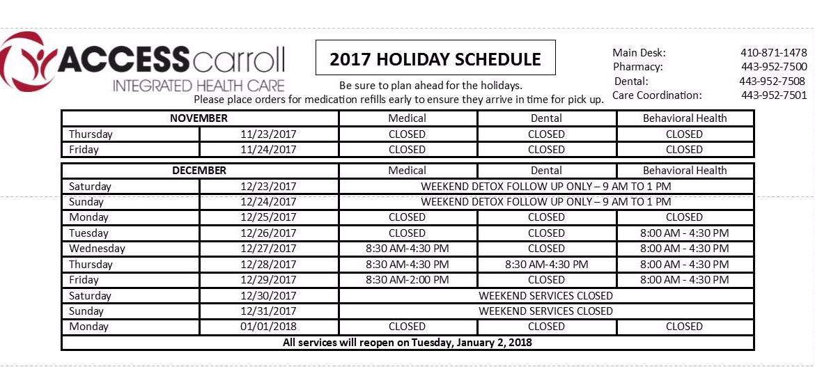 2017 Holiday Hours